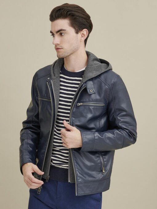 Faux-Leather Jacket with Hood