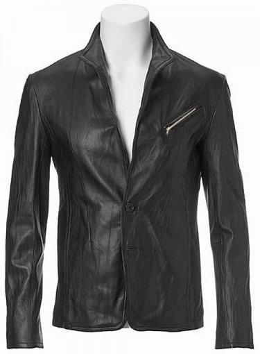 ZIPPER LEATHER BLAZER
