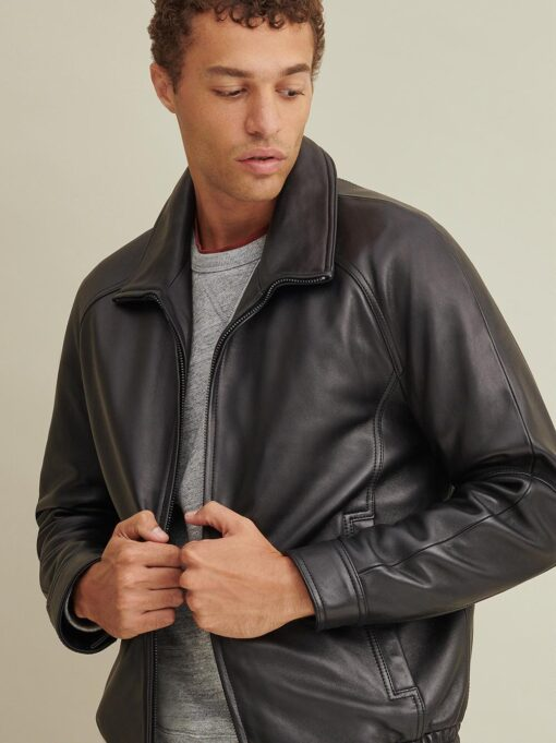 Thinsulate Lined Leather Bomber Jacket