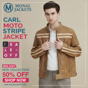 Carl Moto Jacket with Chest Stripe