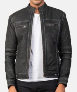 Youngster Distressed Black Leather Jacket