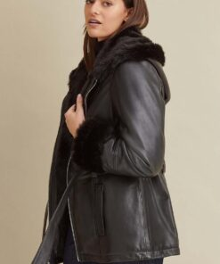 Genevieve Belted Leather Jacket