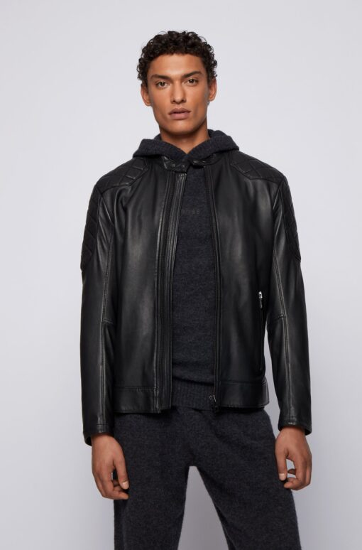 Slim-fit jacket in plongé leather with quilted details